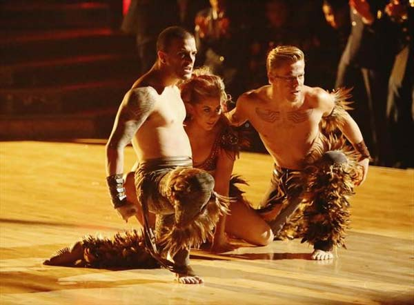 "<div class=""meta ""><span class=""caption-text "">Olympic gymnast Shawn Johnson and her dance partners Derek Hough and Mark Ballas received 26 out of 30 points from the judges for their Samba on 'Dancing With The Stars: All-Stars,' which aired on November 12, 2012. (ABC / OTRC)</span></div>"