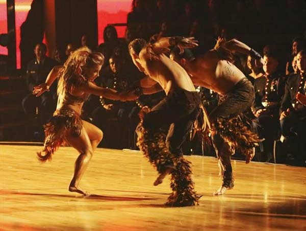 Olympic gymnast Shawn Johnson and her dance partners Derek Hough and Mark Ballas received 26 out of 30 points from the judges for their Samba on &#39;Dancing With The Stars: All-Stars,&#39; which aired on November 12, 2012. <span class=meta>(ABC &#47; OTRC)</span>