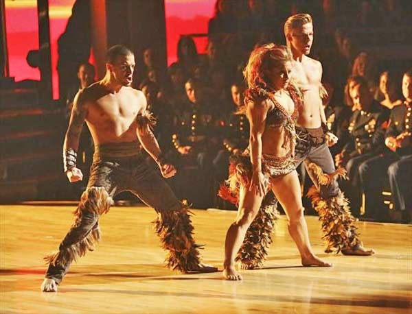 Olympic gymnast Shawn Johnson and her dance partners Derek Hough and Mark Ballas received 26 out of 30 points from the judges for their Samba on 'Dancing With The Stars: All-Stars,' which aired on November 12, 2012.
