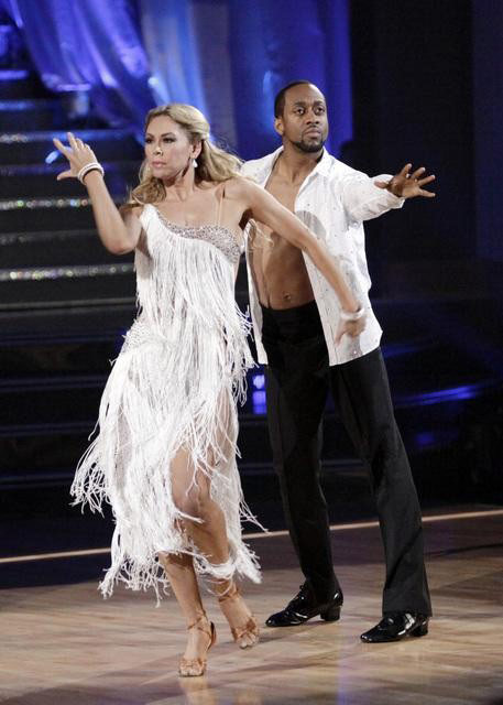 Jaleel White, who played Steve Urkel on 'Family Matters,' and his partner Kym Johnson react to being eliminated on 'Dancing With The Stars: The Results Show' on Tuesday, May 1, 2012.