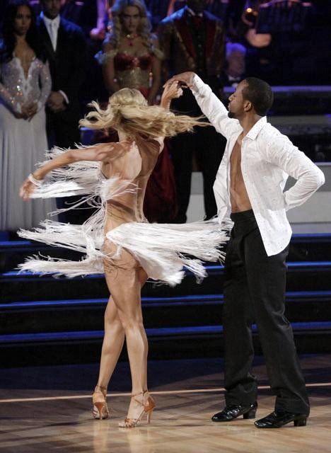 Jaleel White, who played Steve Urkel on &#39;Family Matters,&#39; and his partner Kym Johnson react to being eliminated on &#39;Dancing With The Stars: The Results Show&#39; on Tuesday, May 1, 2012. The pair received 24 out of 30 points from the judges for their Viennese Waltz and 27 out of 30 for their role on Team Tango on week seven of &#39;Dancing With The Stars,&#39; which aired on April 30, 2012. <span class=meta>(ABC)</span>