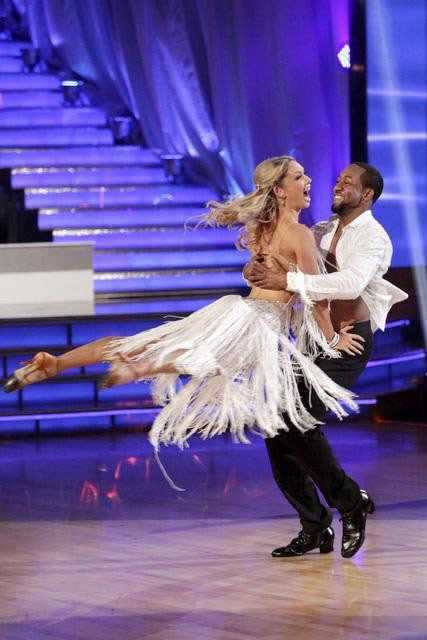 "<div class=""meta ""><span class=""caption-text "">Jaleel White, who played Steve Urkel on 'Family Matters,' and his partner Kym Johnson react to being eliminated on 'Dancing With The Stars: The Results Show' on Tuesday, May 1, 2012. The pair received 24 out of 30 points from the judges for their Viennese Waltz and 27 out of 30 for their role on Team Tango on week seven of 'Dancing With The Stars,' which aired on April 30, 2012. (ABC)</span></div>"
