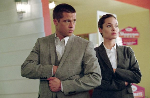 Angelina Jolie and Brad Pitt appear in a scene...