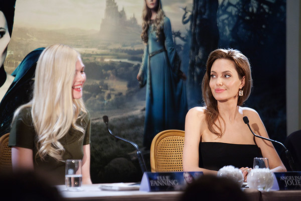 Angelina Jolie and co-star Elle Fanning appear at a photo call for the movie &#39;Maleficent&#39; in Paris, France on May 6, 2014. <span class=meta>(CB &#47; Disney)</span>