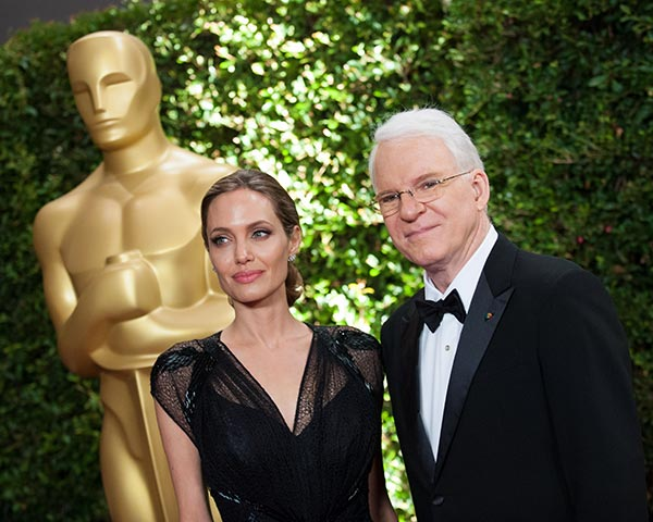 Jean Hersholt Humanitarian Award recipient Angelina Jolie appears with Honorary Award recipient Steve Martin at the 2013 Governors Awards at The Ray Dolby Ballroom at Hollywood and Highland Center in Hollywood, California on Saturday, Nov. 16, 2013. She gave an emotional speech honoring her late mother. <span class=meta>(Matt Petit &#47; A.M.P.A.S.)</span>