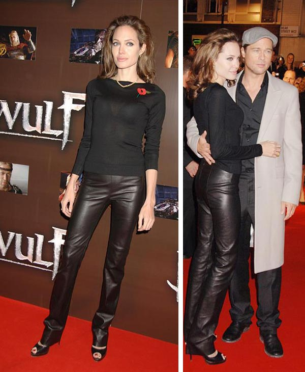 Angelina Jolie and Brad Pitt attend the premiere of 'Beowulf' in London on Nov. 11, 2007.