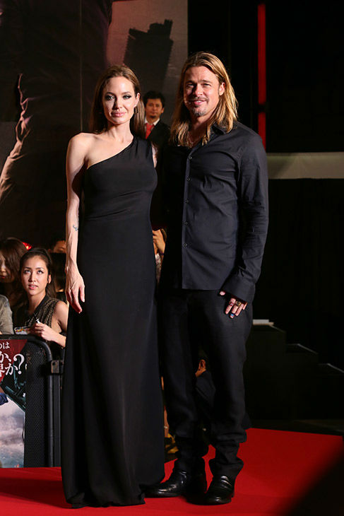 Angelina Jolie and partner and cast member Brad Pitt attend the &#39;World War Z&#39; premiere at Roppongi Hills in Tokyo, Japan on July 29, 2013. <span class=meta>(Ken Ishii &#47; Getty Images for Paramount Pictures)</span>