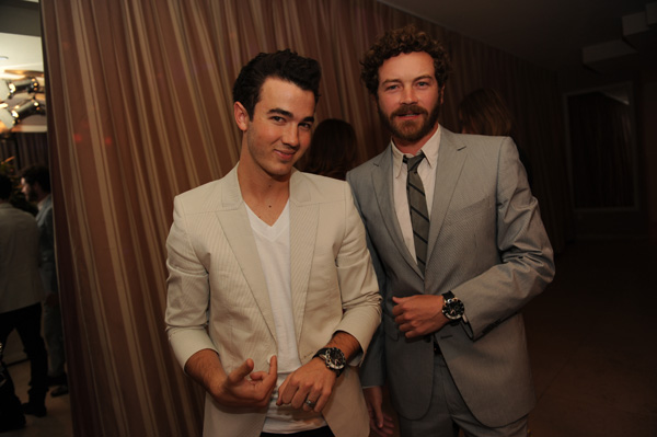 Kevin Jonas from the Jonas Brothers and Danny Masterson from &#39;That &#39;70s Show&#39; appear at an intimate cocktail party to celebrate the launch of the Joseph Abboud watch collection at the Sunset Tower Hotel in Los Angeles on Thursday, June 16, 2011.  <span class=meta>(Seth Browarnik &#47; WorldRedeye.com)</span>