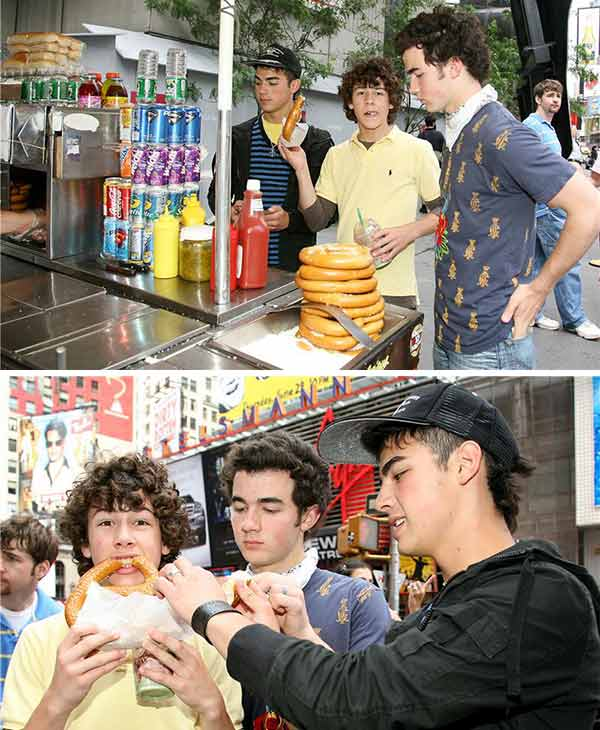 The time the Jonas Brothers ate delicious pretzels in New York City during a photo shoot.  &#40;Pictured: Nick, Kevin and Joe Jonas are seen in a photo shoot in New York City on June 26, 2006.&#41; <span class=meta>(Alex Oliveira &#47; Startraksphoto.com)</span>