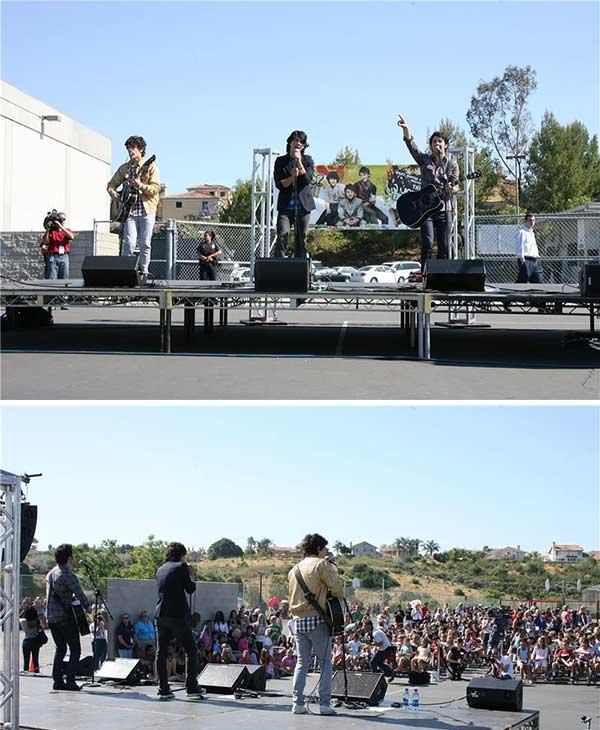 The time the Jonas Brothers gave a surprise performance for kids at an elementary school.  &#40;Pictured: Nick, Joe and Kevin Jonas perform at Adobe Bluffs elementary school in San Diego on May 19, 2008. The students won a contest sponsored by Topps Candy as part of its Baby Bottle Pop promotion.&#41; <span class=meta>(Jen Lowery &#47; Startraksphoto.com)</span>