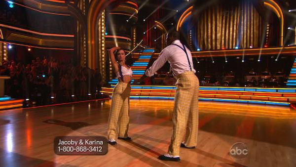 "<div class=""meta ""><span class=""caption-text "">NFL star Jacoby Jones and his partner Karina Smirnoff received 23 out of 30 points from the judges for their Jazz routine on week 2 of 'Dancing With The Stars,' which aired on March 25, 2013. They received a total of 43 out of 60 points for the past two weeks of performances. (ABC Photo / Adam Taylor)</span></div>"
