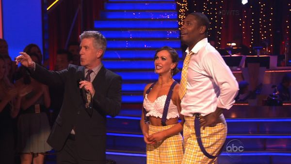 NFL star Jacoby Jones and his partner Karina Smirnoff received 23 out of 30 points from the judges for their Jazz routine on week 2 of &#39;Dancing With The Stars,&#39; which aired on March 25, 2013. They received a total of 43 out of 60 points for the past two weeks of performances. <span class=meta>(ABC Photo)</span>