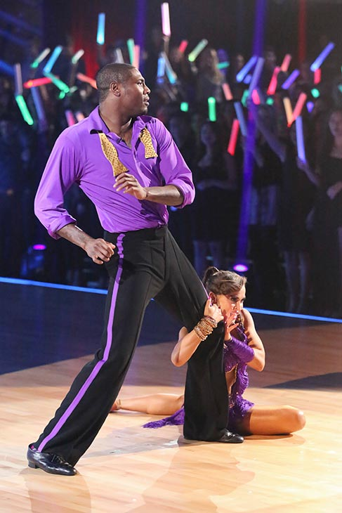 NFL star Jacoby Jones and his partner Karina Smirnoff dance on the season 16 premiere of 'Dancing With The Stars' on March 18, 2013.