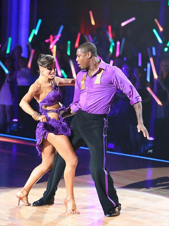 "<div class=""meta ""><span class=""caption-text "">NFL star Jacoby Jones and his partner Karina Smirnoff received 20 out of 30 points from the judges for their Cha Cha Cha routine on the season premiere of 'Dancing With The Stars,' which aired on March 18, 2013. (ABC Photo / Adam Taylor)</span></div>"