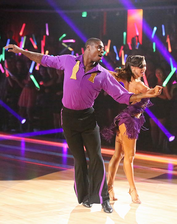 "<div class=""meta image-caption""><div class=""origin-logo origin-image ""><span></span></div><span class=""caption-text"">NFL star Jacoby Jones and his partner Karina Smirnoff received 20 out of 30 points from the judges for their Cha Cha Cha routine on the season premiere of 'Dancing With The Stars,' which aired on March 18, 2013. (ABC Photo / Adam Taylor)</span></div>"