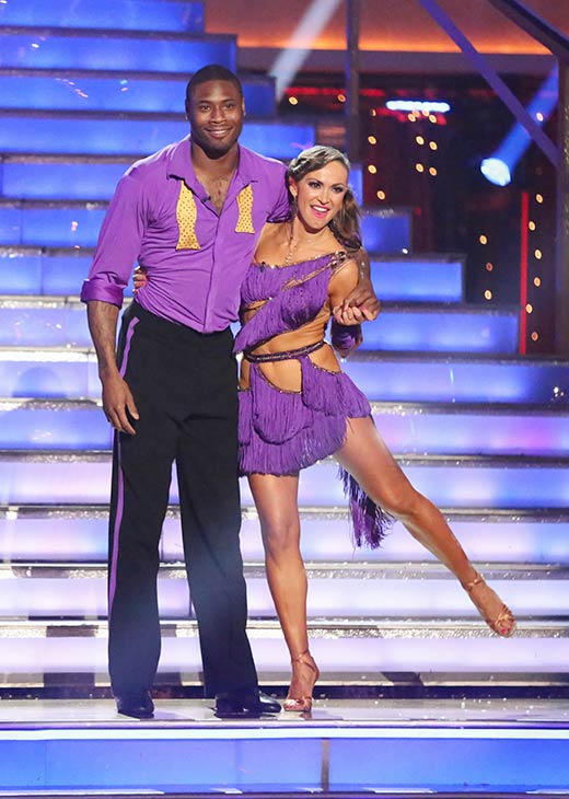 NFL star Jacoby Jones and his partner Karina Smirnoff prepare to dance on the season 16 premiere of &#39;Dancing With The Stars,&#39; which aired on March 18, 2013. They received20 out of 30 points from the judges for their Cha Cha Cha routine. <span class=meta>(ABC Photo &#47; Adam Taylor)</span>