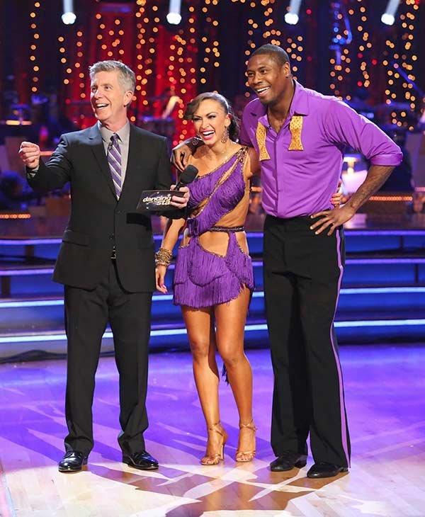 NFL star Jacoby Jones and his partner Karina Smirnoff received 20 out of 30 points from the judges for their Cha Cha Cha routine on the season 16 premiere of &#39;Dancing With The Stars,&#39; which aired on March 18, 2013. <span class=meta>(ABC Photo)</span>