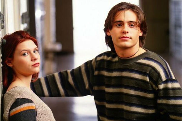 The &#39;Stare-That-Launched-A-Thousand-Stares&#39; stare: Jared Leto appears as Jordan Catalano, musician, misunderstood &#39;bad boy&#39; and high school crush of Angela Chase -- played by Claire Danes, pictured left -- in a promotional photo for the ABC drama series &#39;My So-Called Life,&#39; which aired for one season, between 1994 and 1995. <span class=meta>(ABC)</span>