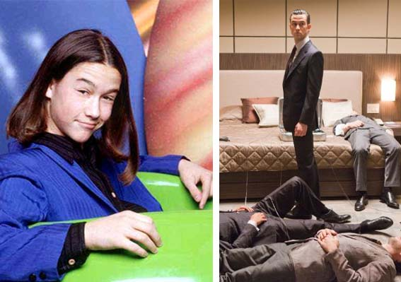 Joseph Gordon-Levitt appears in a promotional photo for '3rd Rock from the Sun.' / Joseph Gordon-Levitt appears in a scene from the 2010 film, 'Inception.'