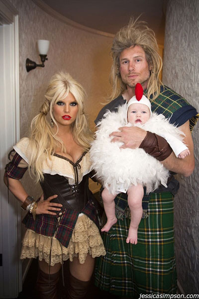 Jessica Simpson posted this photo of herself, fiance Eric Johnson and their baby daughter Maxwell in their Halloween costumes on her official website on Oct. 31, 2012. The child was born on May 1. Simpson had confirmed her pregnancy on Halloween 2011 with a &#39;Mummy&#39; costume. <span class=meta>(jessicasimpson.com)</span>