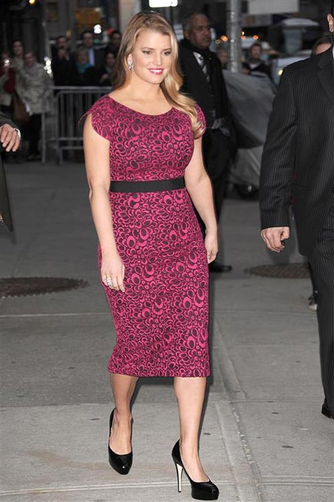 Jessica Simpson wears a floral L&#39;Wren Scott dress to a taping of &#39;The Late Show with David Letterman&#39; in New York on March 10, 2010. <span class=meta>(Bill Davila &#47; Startraksphoto.com)</span>