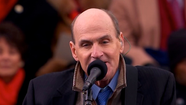 James Taylor performs 'America The Beautiful' after President Barack Obama's ceremonial swearing-in ceremony during the 57th Presidential Inauguration.