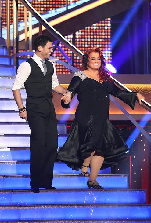 Singer Wynonna Judd and her partner Tony Dovolani prepare to dance on the season premiere of &#39;Dancing With The Stars,&#39; which aired on March 18, 2013. They received 18 out of 30 points from the judges for their Cha Cha Cha routine. <span class=meta>(ABC Photo &#47; Adam Taylor)</span>