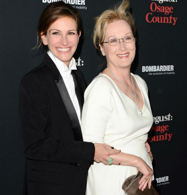 The time Julia Roberts hugged her co-star Meryl Streep on the red carpet at the premiere of &#39;August: Osage County&#39; in Los Angeles on Dec. 16, 2013. <span class=meta>(Sara De Boer &#47; Startraksphoto.com)</span>