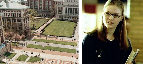 On the left is a still image of Columbia University. Julia Stiles is pictured on the right in a scene from the 2001 movie 'Save the Last Dance.'