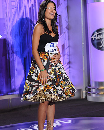 "<div class=""meta image-caption""><div class=""origin-logo origin-image ""><span></span></div><span class=""caption-text"">Julie Zorilla, a 20-year-old from Los Angeles, CA was made an 'American Idol' Top 24 finalist. (Pictured: Julie Zorilla performs in front of the judges on 'American Idol' on an episode that aired on Feb. 9, 2011.) (Michael Becker / FOX)</span></div>"