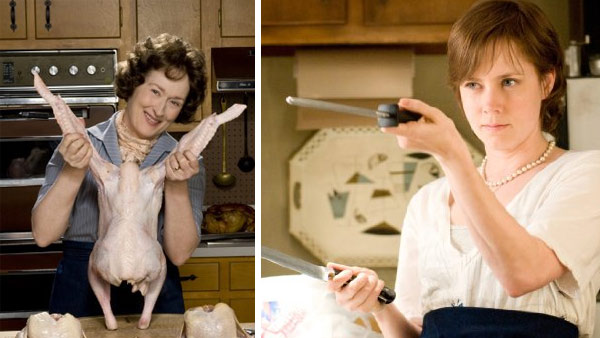 Amy Adams played blogger Julie Powell, who made it a goal to cook all the meals in the first book published by Julia CHild, portrayed by Meryl Streep, in the 2009 film 'Julie and Julia.'