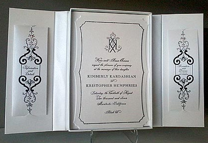 The invitation to the wedding of Kim Kardashian and Kris Humphries, set to take place on Aug. 20, 2011.