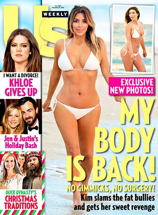 Kim Kardashian appears in a bikini on the cover of Us Weekly's Dec. 25, 2013 issue. The reality star gave birth to her and boyfriend Kanye West's daughter, North West, the previous June.