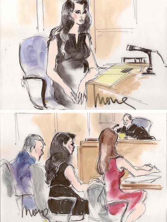 These sketches show Kim Kardashian in court for a divorce hearing on Friday, April 19, 2013. She and estranged husband Kris Humphries reached a settlement. - Provided courtesy of Mona S. Edwards