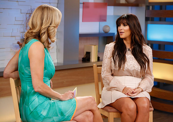 "<div class=""meta image-caption""><div class=""origin-logo origin-image ""><span></span></div><span class=""caption-text"">Kim Kardashian is interviewed by Lara Spencer on ABC's 'Good Morning America' on March 26, 2013. (ABC Photo / Heidi Gutman)</span></div>"