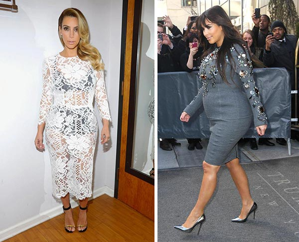 Kim Kardashian told Jay Leno on &#39;The Tonight Show with Jay Leno&#39; on Oct. 30, 2013 that after she gave birth to her and Kanye West&#39;s daughter, North, the previous June, she lost 50 pounds. Kardashian added that she lost the weight with the help of the Atkins diet and hikes with her family members and West.  &#40;Pictured: Kim Kardashian poses for a photo in a dressing room before appearing on NBC&#39;s &#39;Tonight Show With Jay Leno&#39; in Burbank, California on Oct. 30, 2013. &#47; Kim Kardashian, pictured while pregnant and expecting her first child with Kanye West, is seen in New york on March 27, 2013.&#41; <span class=meta>(Michael Simon &#47; Freddie Baez &#47; Startraksphoto.com)</span>