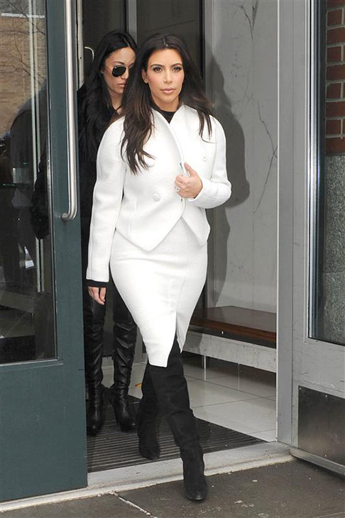 Kim Kardashian leaves an apartment in New York on Feb. 18, 2014.