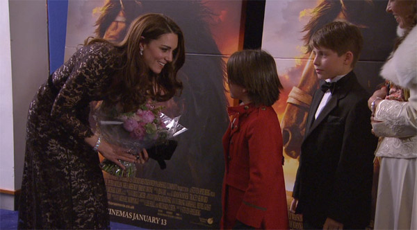 Kate, or Catherine, Duchess of Cambridge, greets children at the UK Premiere of 'War Horse' at a central London cinema in London, Sunday, Jan. 8, 2012.