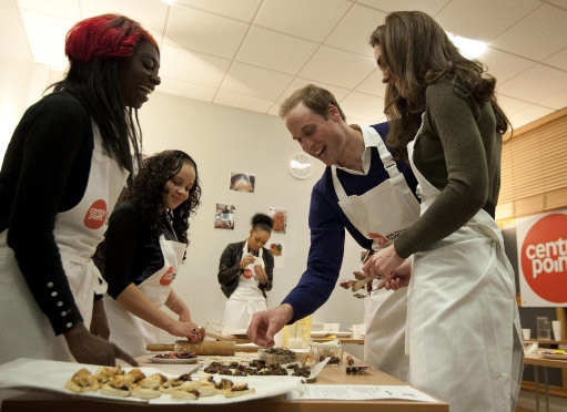 "<div class=""meta ""><span class=""caption-text "">The Duke and Duchess of Cambridge, Prince William and Kate, attend a 'healthy living cookery session' during a visit to Centrepoint's Camberwell Foyer in London on Dec. 21, 2011. Centrepoint provides housing and other support for homeless young people in London. (Prince of Wales Media Centre)</span></div>"