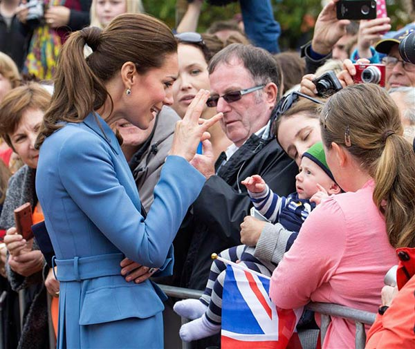 The time Kate Middleton, aka Catherine, Duchess of Cambridge, shared an inside joke with a baby in Blenheim, New Zealand, during her and Prince William&#39;s visit on April 9, 2014. <span class=meta>(Tim Rooke &#47; REX &#47; Startraksphoto.com)</span>