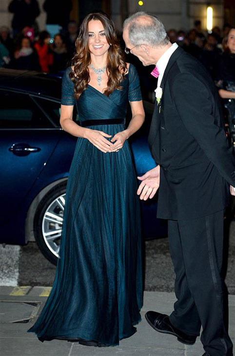 The time Kate Middleton, aka Catherine, Duchess of Cambridge, looked amazing in a Jenny Packham gown and gorgeous necklace borrowed from mother-in-law Queen Elizabeth II -- which the British monarch wore at her 1947 wedding -- while attending the National Portrait Fundraiser to the Queen in London on Feb. 11, 2014. Even this man is enamored by the amazingness that is Kate. <span class=meta>(Tim Rooke &#47; REX &#47; Startraksphoto.com)</span>
