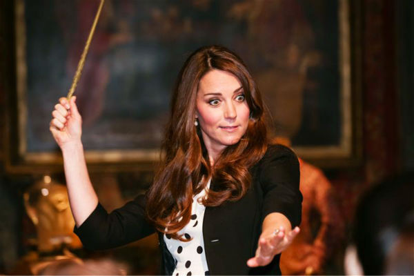 The time Kate Middleton practiced magic at the new studio of Warner Bros., which made &#39;Harry Potter,&#39; in Hertfordshire in the UK on April 26, 2013. <span class=meta>(Barcroft Media &#47; Startraksphoto.com)</span>
