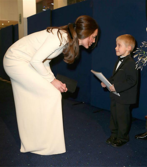 The time Kate Middleton stopped and chatted with this little boy, her gown draped like an angel's, at the premiere of 'Mandela: Long Walk To Freedom' in London on Dec. 5, 2013.