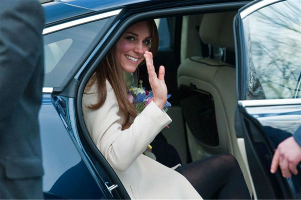 The time Kate Middleton stopped to wave from this car parked near the Child Bereavement Charity Center in Saunderton in the UK on March 19, 2013. <span class=meta>(Barcroft Media &#47; Startraksphoto.com)</span>