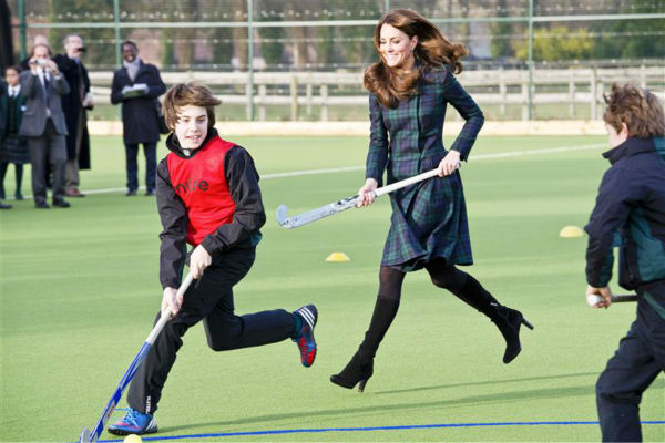 The time Kate Middleton played field hockey with a group of kids at St. Andrews School in Pangbourne in the UK on Nov. 30, 2012. <span class=meta>(Barcroft Media &#47; Startraksphoto.com)</span>