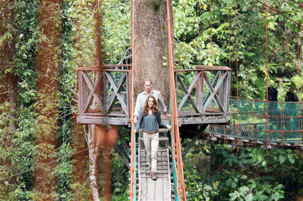 "<div class=""meta ""><span class=""caption-text "">The time Kate Middleton and husband Prince William reenacted a scene from 'Romancing The Stone' (not really). The two are pictured on a suspension bridge at the Danum Vallery Field Centre in Lahad Datu Sabah in Malaysia on Sept. 15, 2013.  (Barcroft Media / Startraksphoto.com)</span></div>"