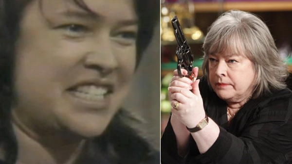 Kathy Bates played prison inmate Belle Bodelle on 'All My Children' in 1984. (Pictured: Kathy Bates in a scene from 'All My Children.' / Kathy Bates in a scene from the NBC series 'Harry's Law' in 2011.)
