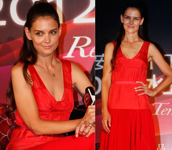 Katie Holmes sizzles in a red dress in Taiwan on June 8, 2012. - Provided courtesy of AP / Wally Santana
