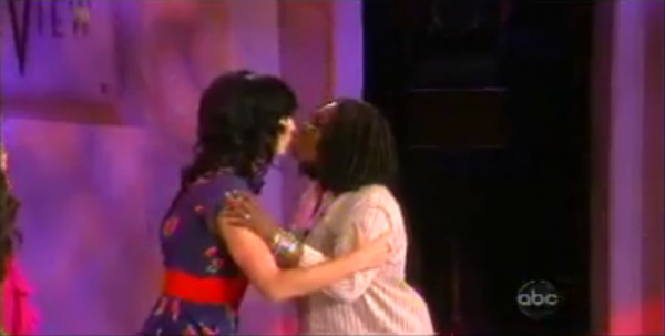 After Katy Perry performed on &#39;The View,&#39; host Whoopi Goldberg kissed her on the lips and exclaimed, &#39;I liked it!&#39; <span class=meta>(Photo courtesy of ABC)</span>