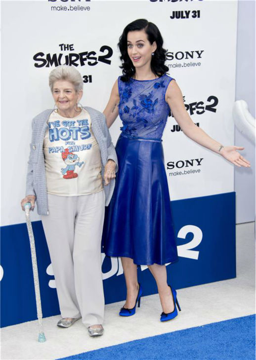 Katy Perry and her grandmother, Ann Hudson, attend the premiere of &#39;The Smurfs 2&#39; at the Regency Village Theatre in Westwood, near Los Angeles, on July 28, 2013. <span class=meta>(Lionel Hahn &#47; Abacausa &#47; startraksphoto.com)</span>